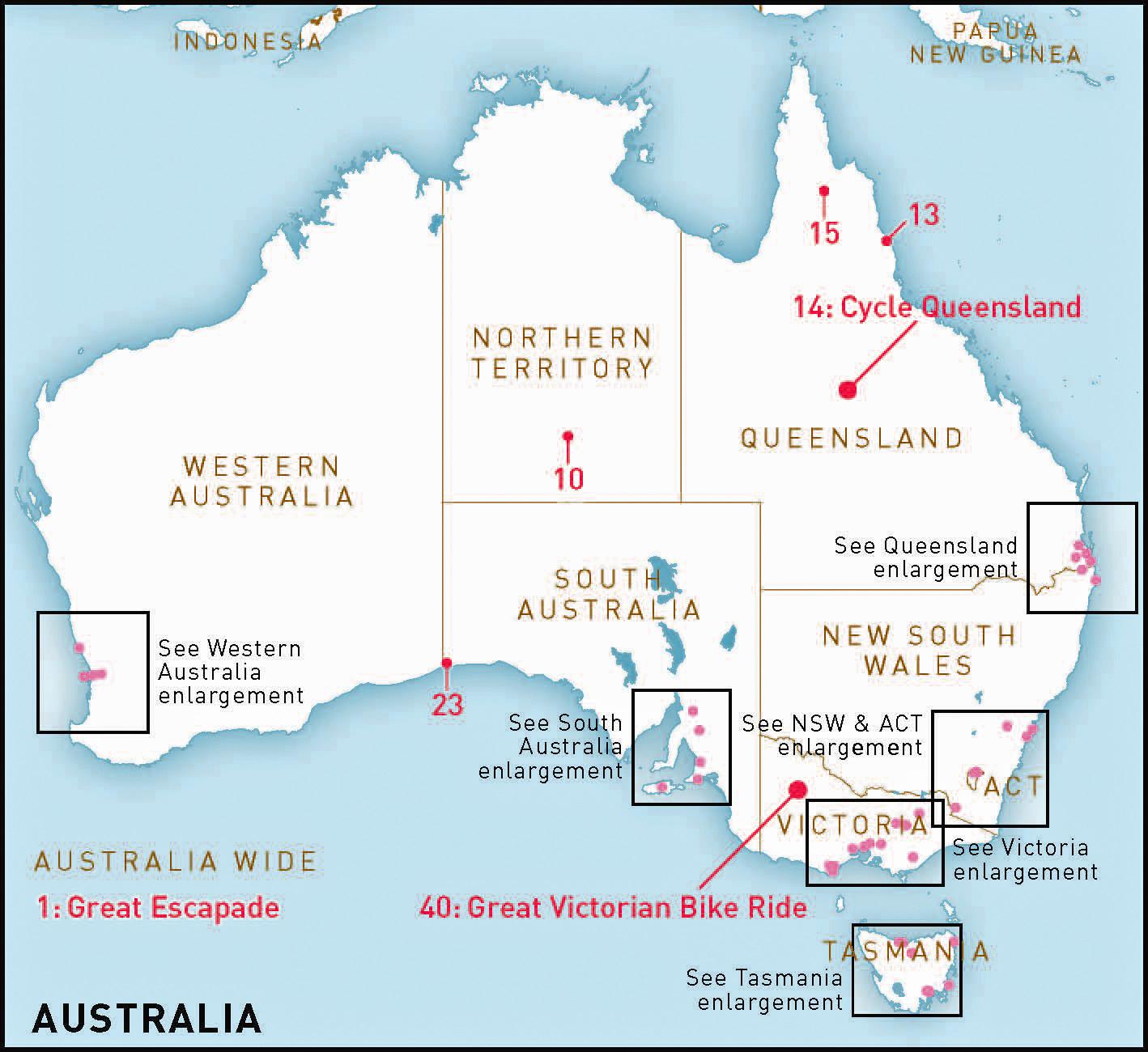 Map Of Northern Victoria Australia.Australia S Top 50 Bike Riding Experiences Rideon
