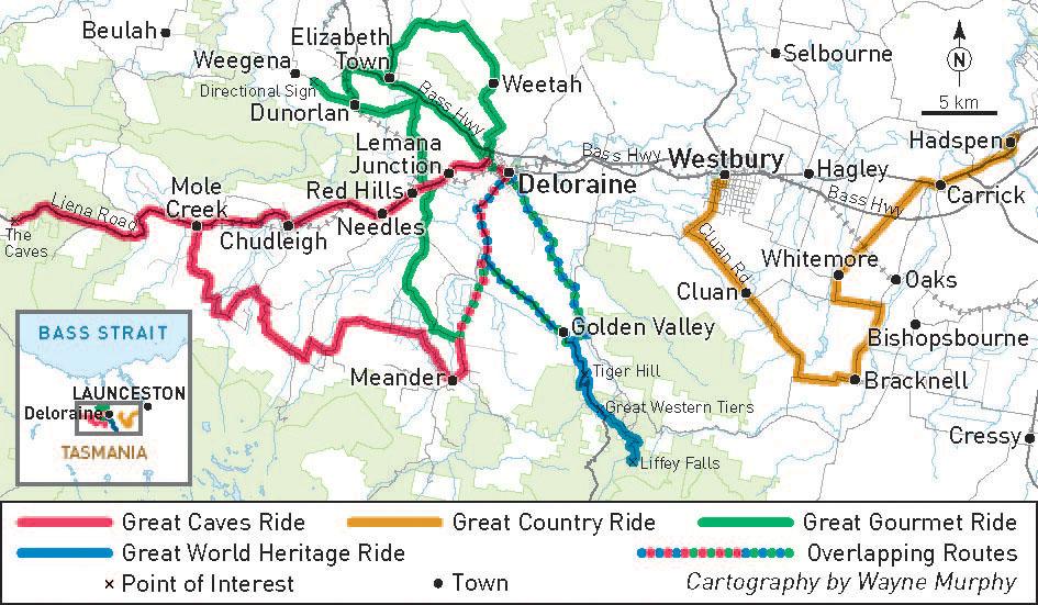 Meander Valley ride routes
