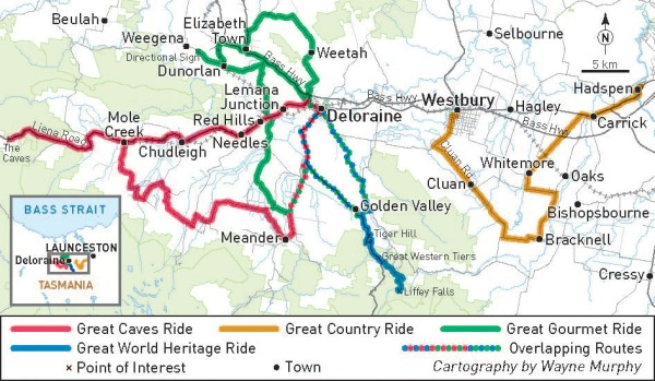Meander Valley ride routes