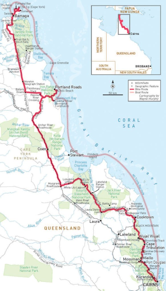 Cairns to Cape York, 1,600km by bike. Map by Wayne Murphy.