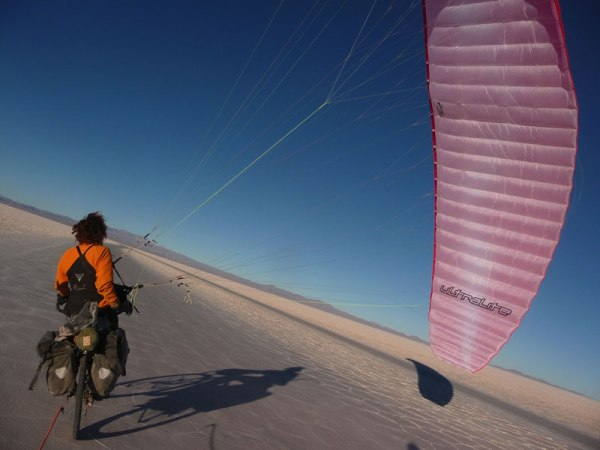 Kite biking with the paraglider; Salar de Uyuni, Bolivia