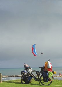 Paragliding at Mokau, New Zealand.